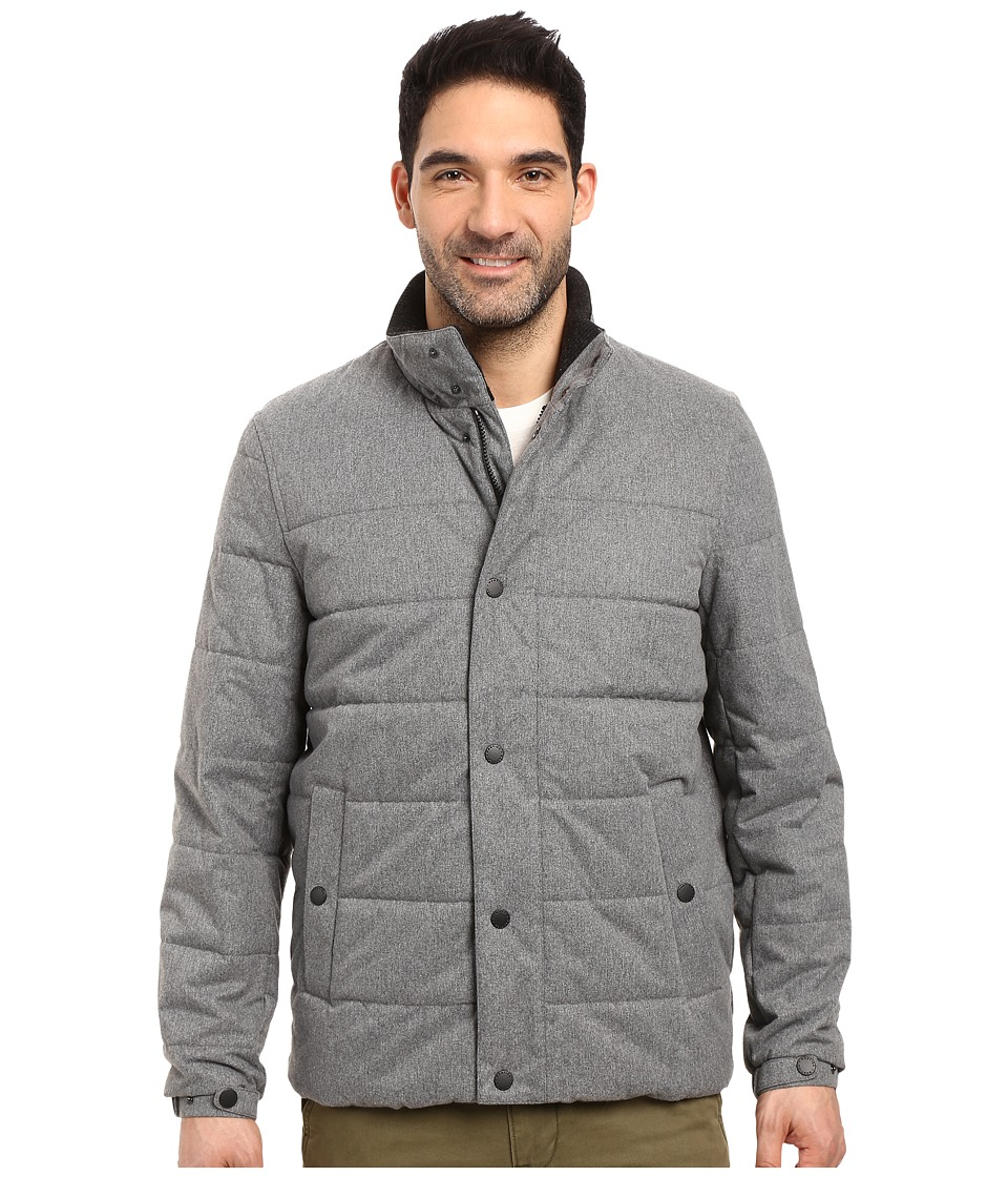 Nautica - Zip Front Brushed Herringbone Jacket (Light Grey) Men's Coat