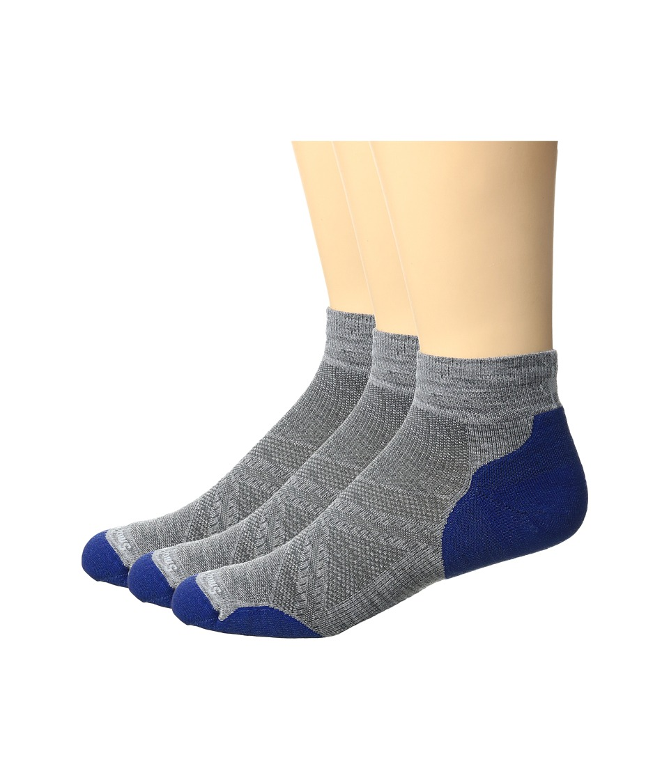 Smartwool - PhD Run LE Light Crew 3-Pack (Light Gray/Dark Blue) Men's Crew Cut Socks Shoes