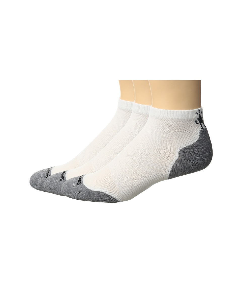 Smartwool - PhD Run LE Light Crew 3-Pack (White/Light Gray) Men's Crew Cut Socks Shoes