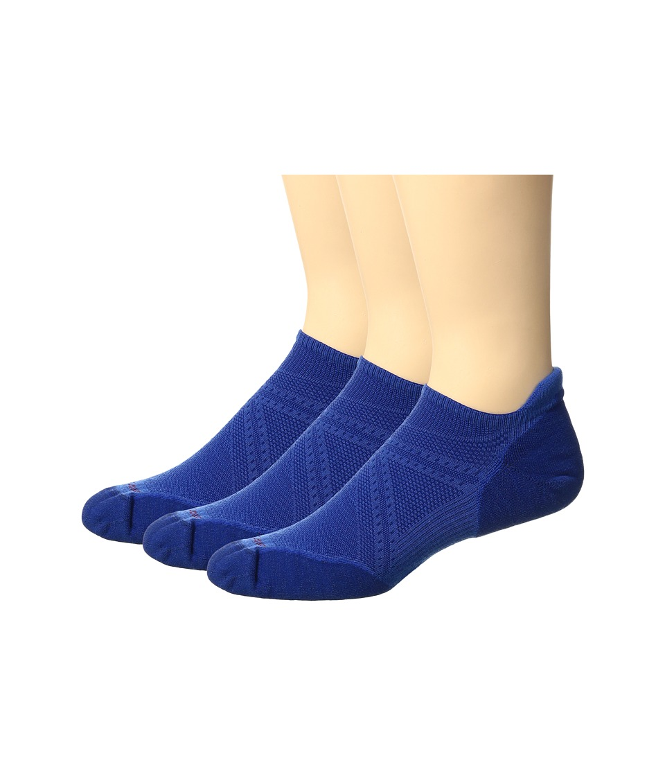 Smartwool - PhD Run Elite Micro 3 Pair Pack (Bright Blue/Dark Blue) Men's Crew Cut Socks Shoes