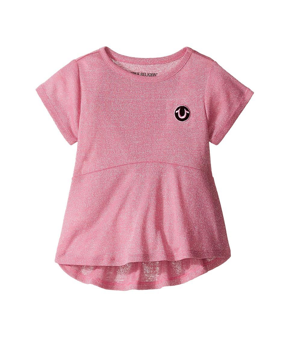 True Religion Kids - Glitter Stripe Peplum T-Shirt (Toddler/Little Kids) (Prism Pink) Girl's T Shirt