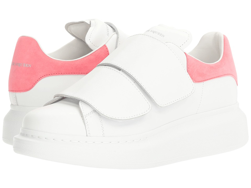 Alexander McQueen - Hook and Loop Sneaker (White/Bubblegum) Women's Hook and Loop Shoes