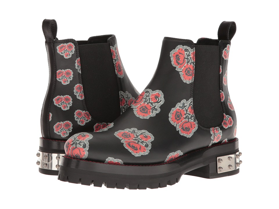 Alexander McQueen Poppy Printed Chelsea Boot (Black Enamel) Women