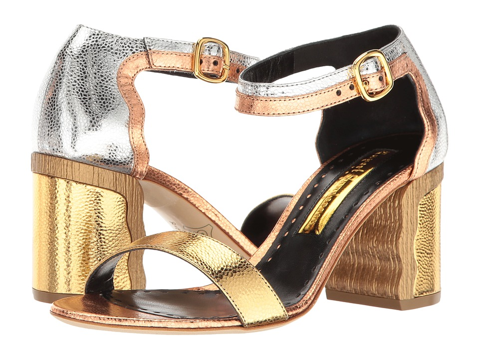 Rupert Sanderson Ripple (Gold/Silver/Bronze Metallic Grain Nappa) High Heels