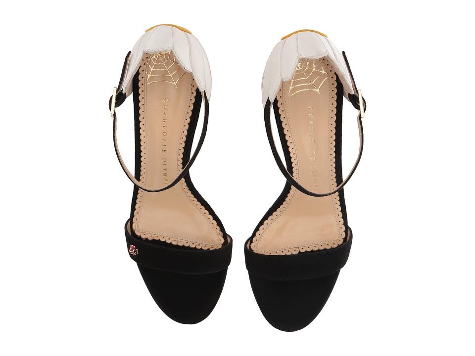 Charlotte Olympia - Marge 85 (Black/White/Sunshine Yellow Suede/Kidskin) High Heels
