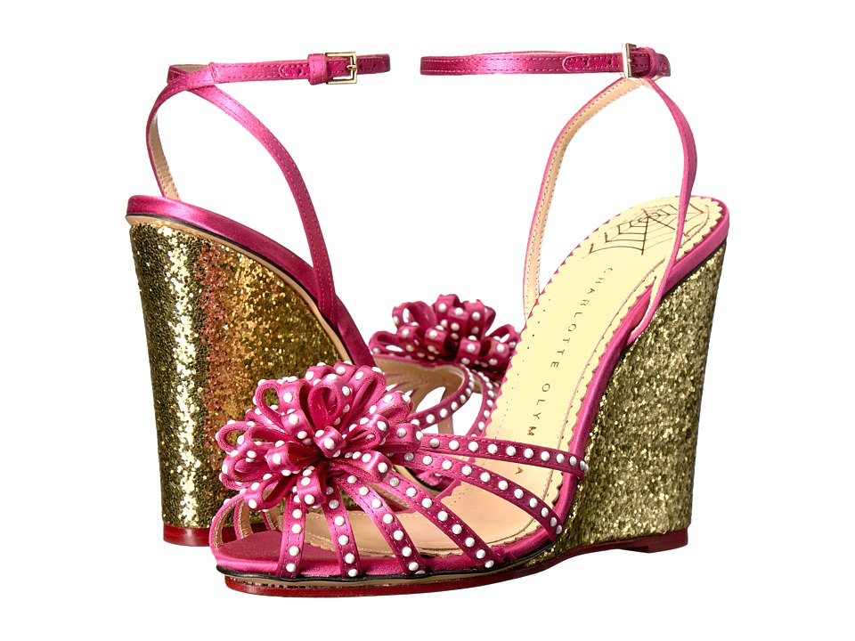 Charlotte Olympia Tina (Pretty Pink/Gold Satin/Glitter) Women's Wedge Shoes