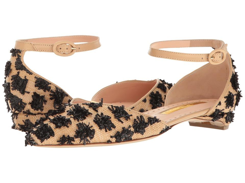 Rupert Sanderson - Profile Abbey (Black Raffia) Women's Flat Shoes