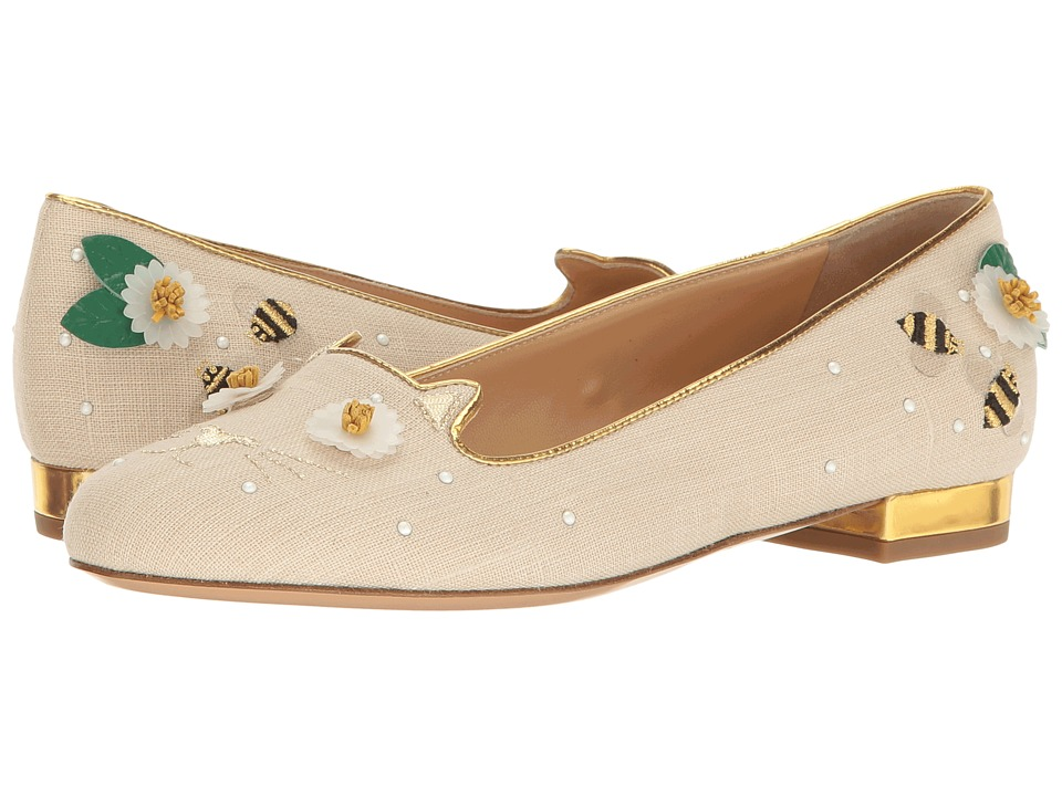 Charlotte Olympia Floral Kitty Flats (Natural/Gold Linen/Metallic Calfskin) Women