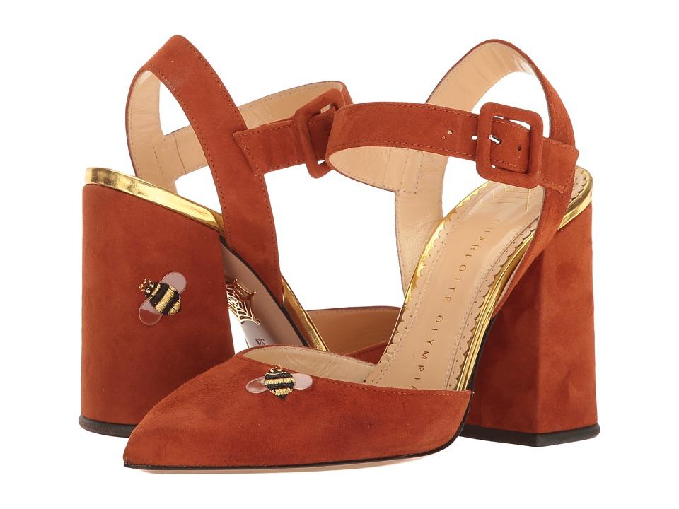 Charlotte Olympia - Amelie (Chestnut/Gold Suede/Metallic Calfskin) High Heels