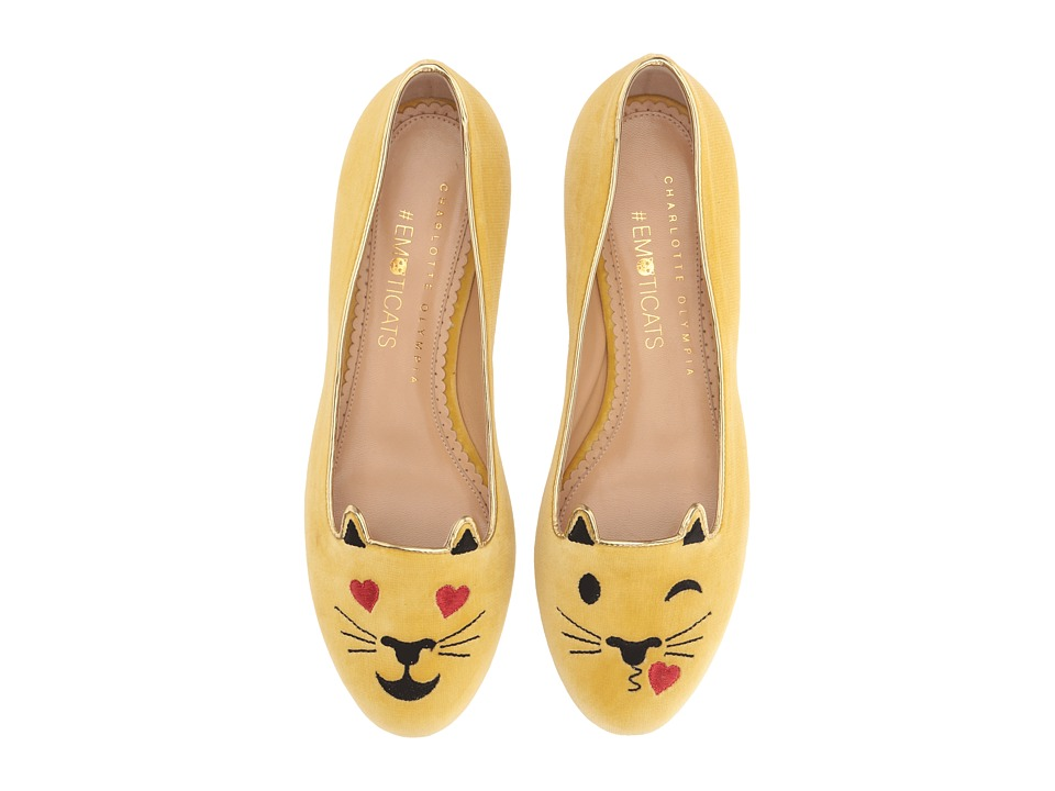 Charlotte Olympia - Flirty Kitty (Mellow Yellow Velvet/Metallic Calf) Women's Flat Shoes