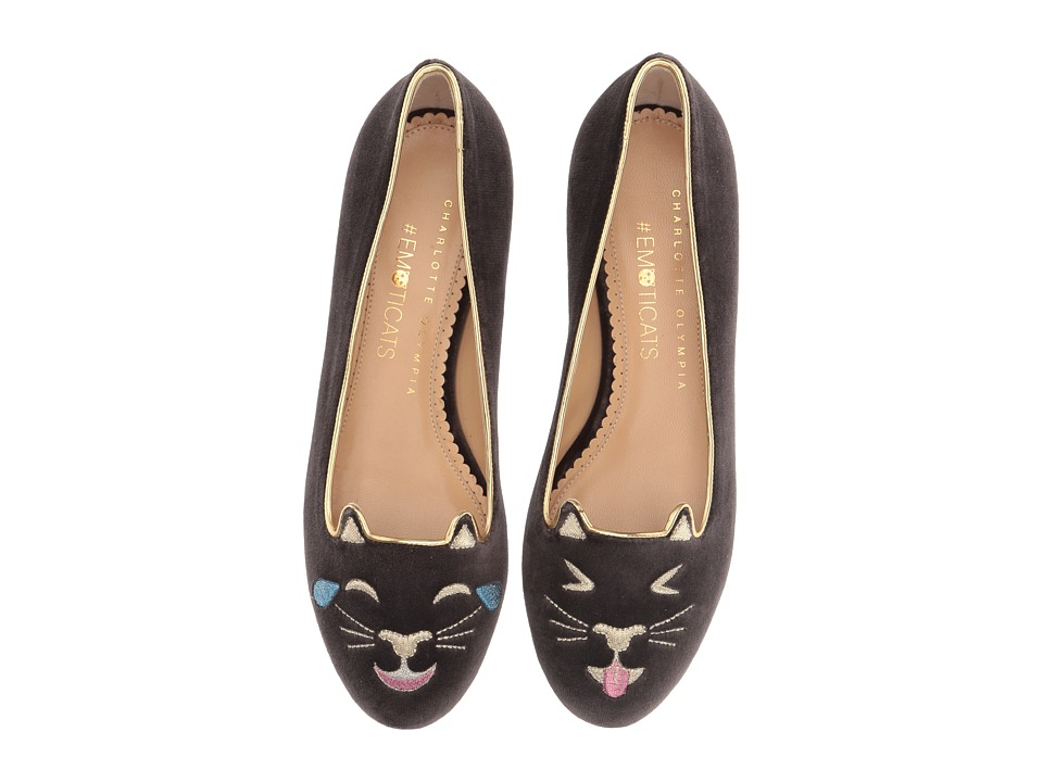 Charlotte Olympia - Lol Kitty (Charcoal Velvet/Metallic Calf) Women's Flat Shoes
