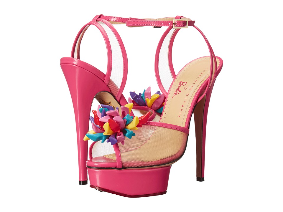Charlotte Olympia - Pomeline (Barbie Pink Printed Cotton/Patent) High Heels
