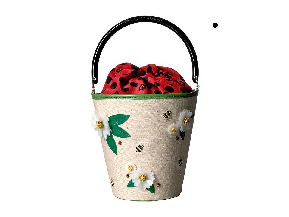 Charlotte Olympia - Picnic Bucket Bag (Multicolour Linen/Calfskin/Crepe de Chine) Handbags