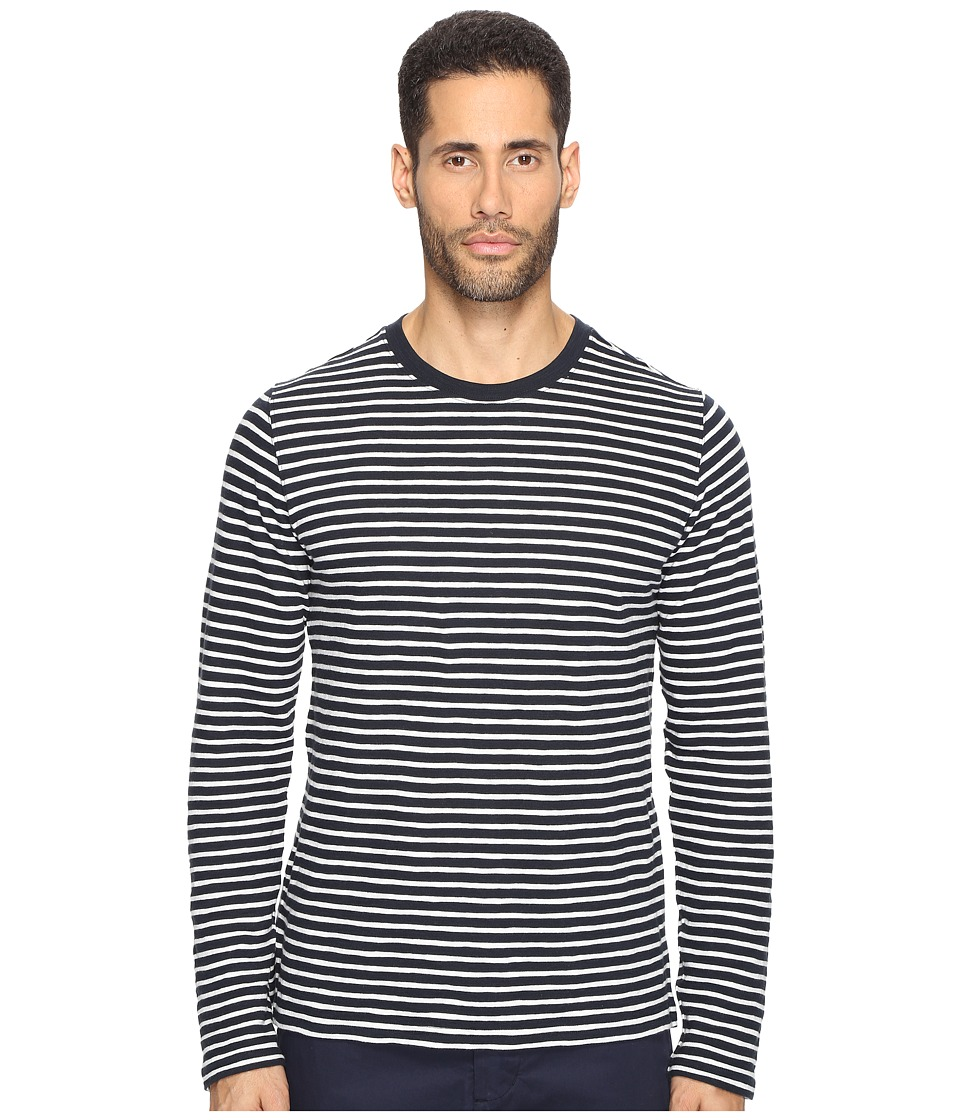 Vince - Striped Long Sleeve Crew Neck T-Shirt (Coastal/Pearl) Men's T Shirt