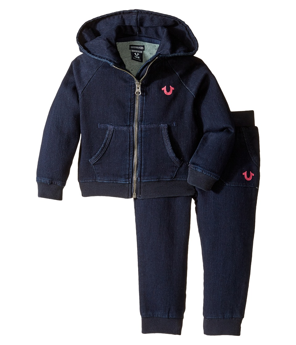 True Religion Kids - Indigo French Terry Hoodie Set (Infant/Toddler) (Indigo) Girl's Active Sets