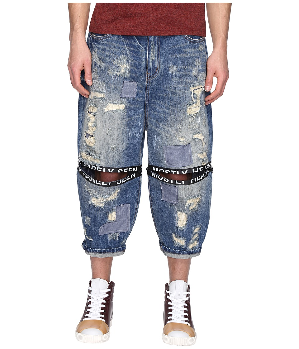 Mostly Heard Rarely Seen - Destroyed Ticker Feed Jeans (Blue) Men's Jeans