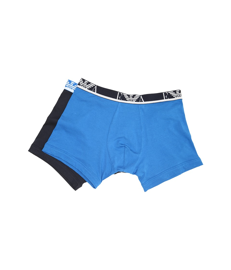 Emporio Armani - Colored 2-Pack Stretch Cotton Boxer Brief (China Blue/Marine) Men's Underwear