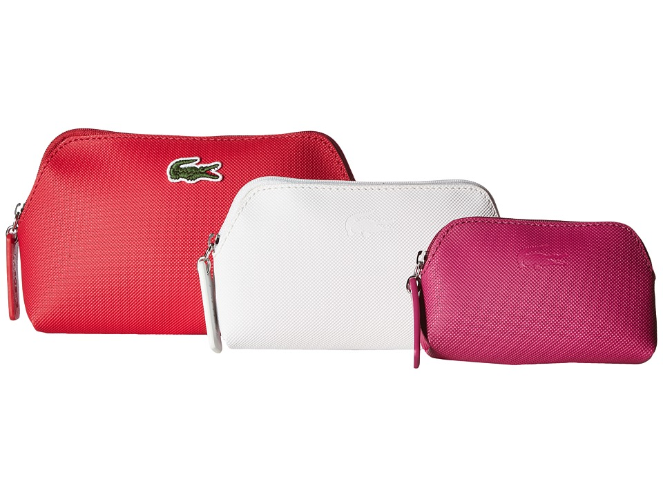 Lacoste - L.12.12 Concept 3 Size Make Up Pouches (Virtual Pink Combo) Cosmetic Case