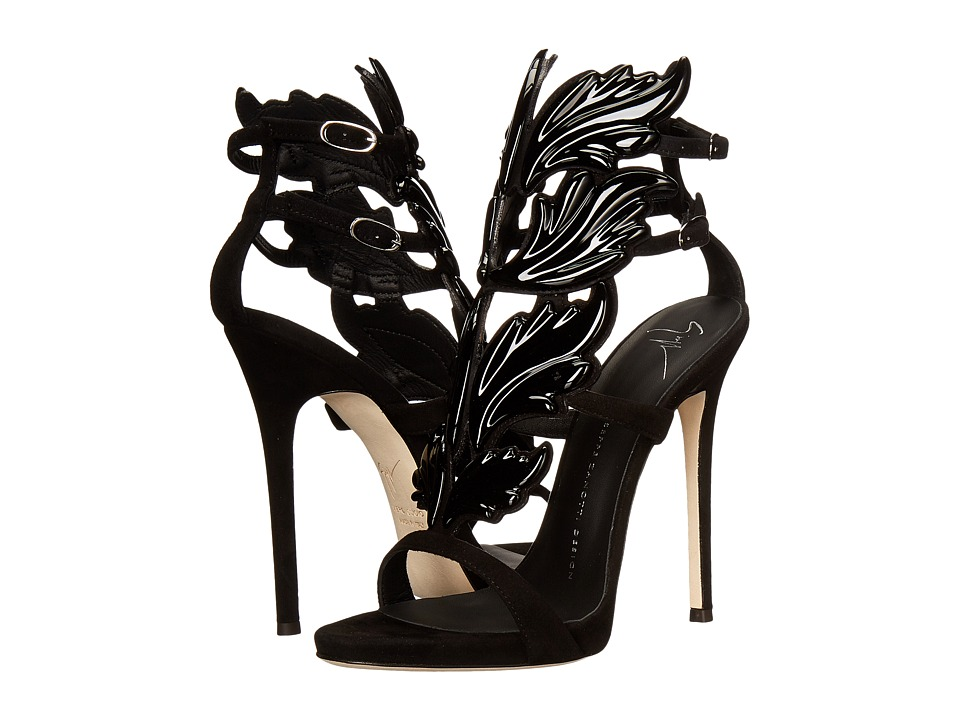 Giuseppe Zanotti - Suede Winged Sandal (Cam Nero) Women's Shoes