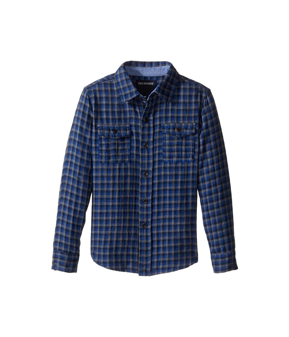 True Religion Kids - Woven Plaid Workwear Shirt (Toddler/Little Kids) (Royal Blue Plaid) Boy's Clothing