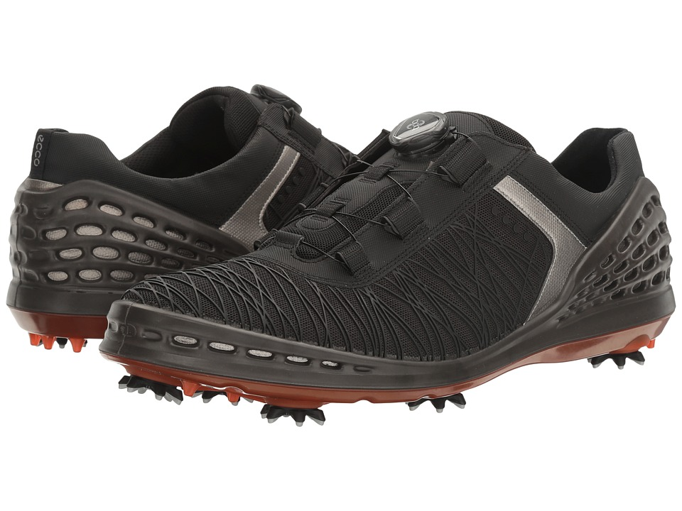 ECCO Golf - Cage EVO Boa (Black/Fire) Men's Golf Shoes