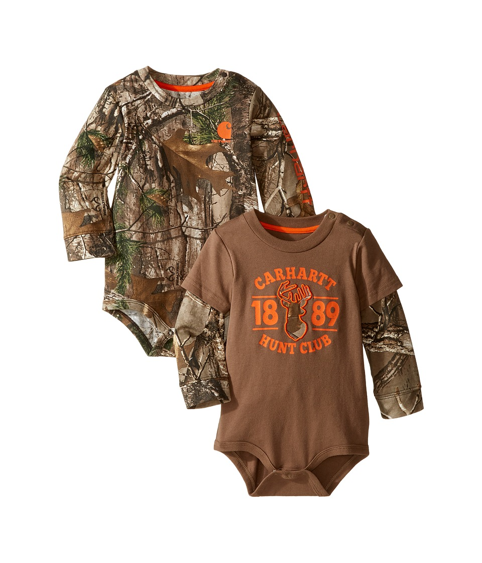 Carhartt Kids - Long Sleeved Camo Body Shirt 2-Pack (Infant) (Assorted Colors) Boy's Jumpsuit & Rompers One Piece