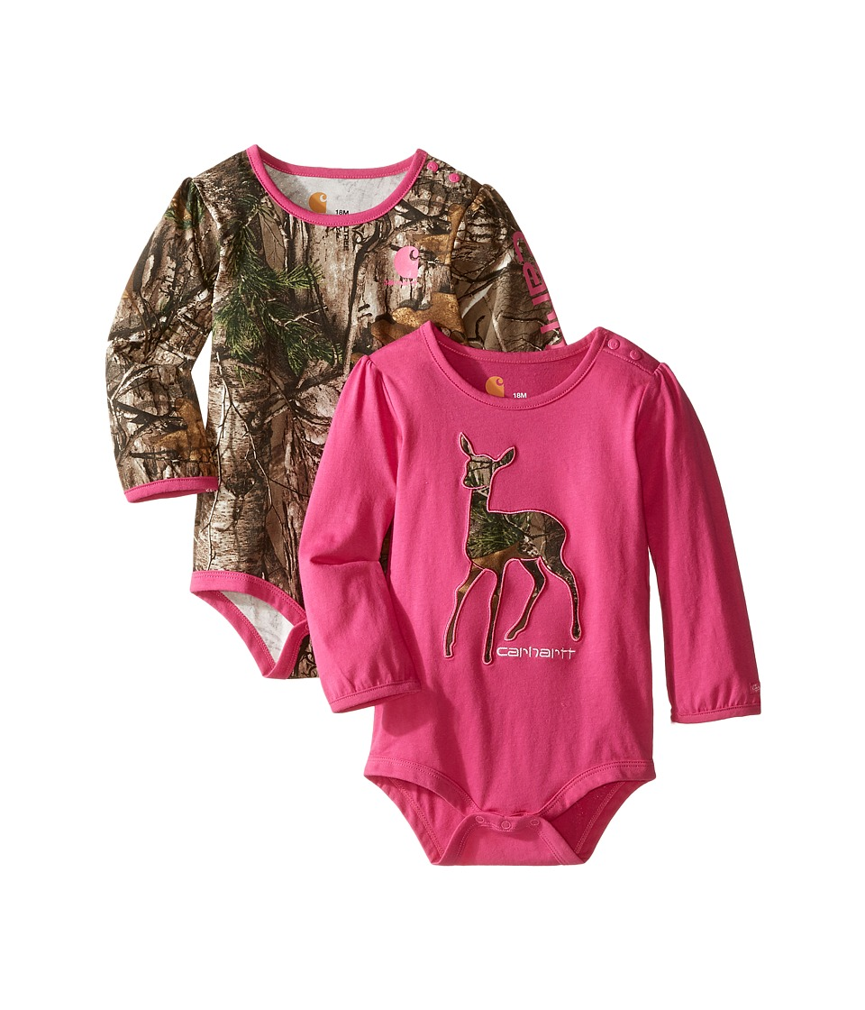 Carhartt Kids - Long Sleeved Pink Camo Body Shirt 2-Pack (Infant) (Assorted Colors) Girl's Jumpsuit & Rompers One Piece