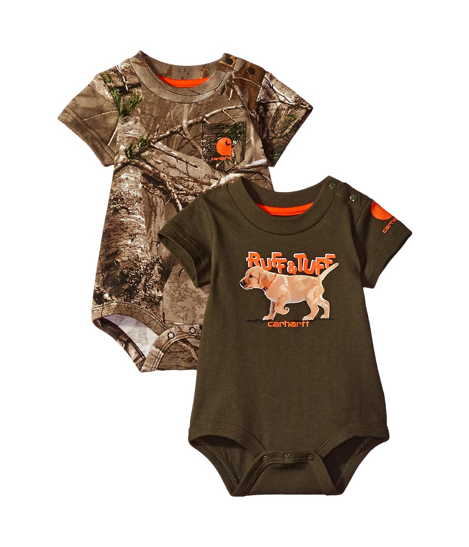 Carhartt Kids - Short Sleeve Camo/Dog Body Body Shirt 2-Pack (Infant) (Assorted Colors) Boy's Jumpsuit & Rompers One Piece