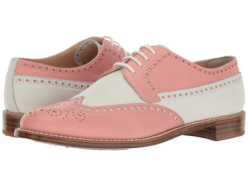 Gravati - Calf Leather Wing Tip (Pink/White) Women's Lace Up Wing Tip Shoes