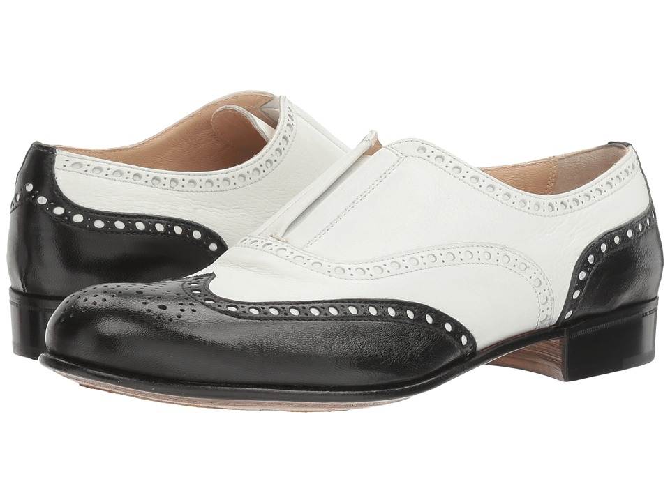 Gravati - Slip-On Wingtip (Black/White) Women's Lace Up Wing Tip Shoes