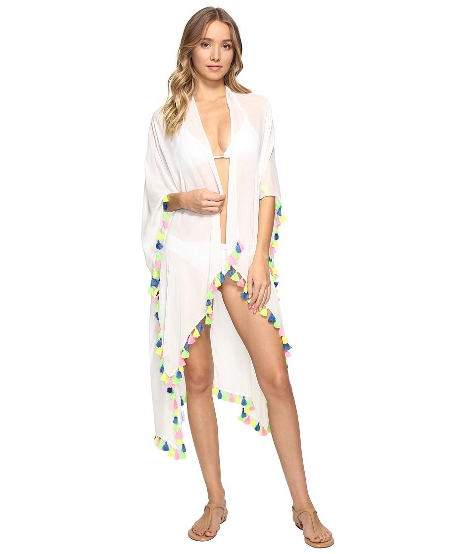 Bindya - Neon Tassel Kimono (White) Women's Clothing