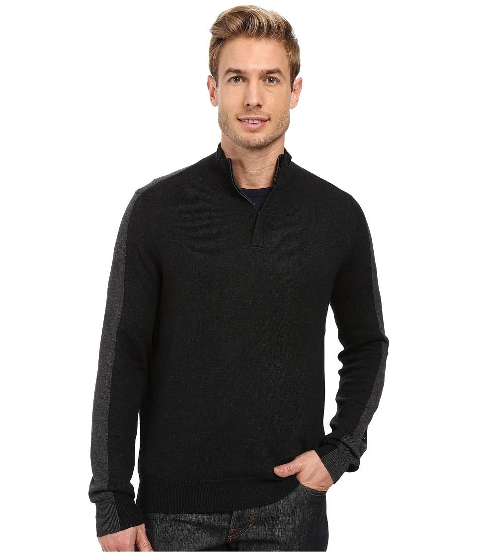 Perry Ellis - Color Block 1/4 Zip Sweater (Black Heather) Men's Sweater