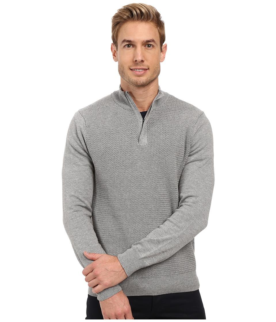 Perry Ellis - Color Block 1/4 Zip Sweater (Smoke Heather) Men's Sweater