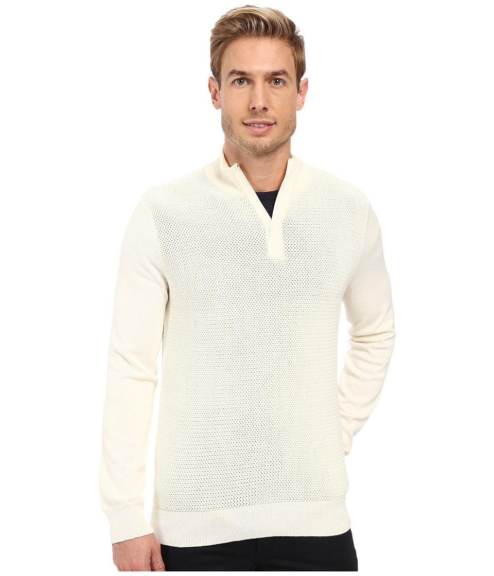 Perry Ellis - Color Block 1/4 Zip Sweater (Cream) Men's Sweater