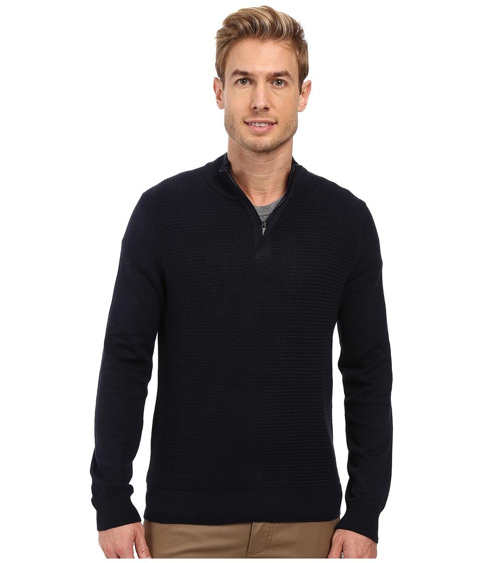 Perry Ellis - Color Block 1/4 Zip Sweater (Dark Sapphire) Men's Sweater