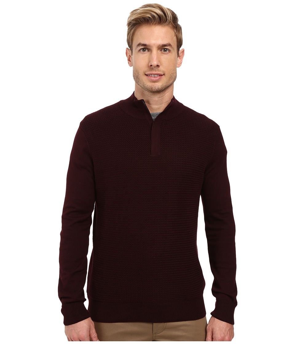 Perry Ellis - Color Block 1/4 Zip Sweater (Port) Men's Sweater