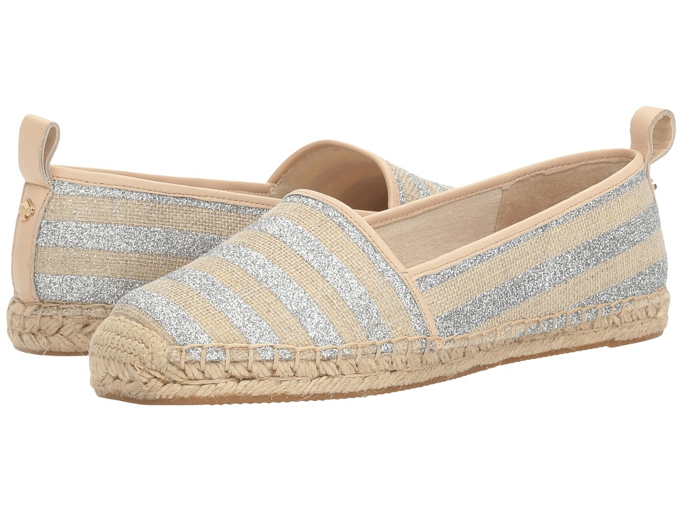 Kate Spade New York - Lilliad (Silver/Natural Glitter Stripe Canvas/Sand Nappa) Women's Shoes