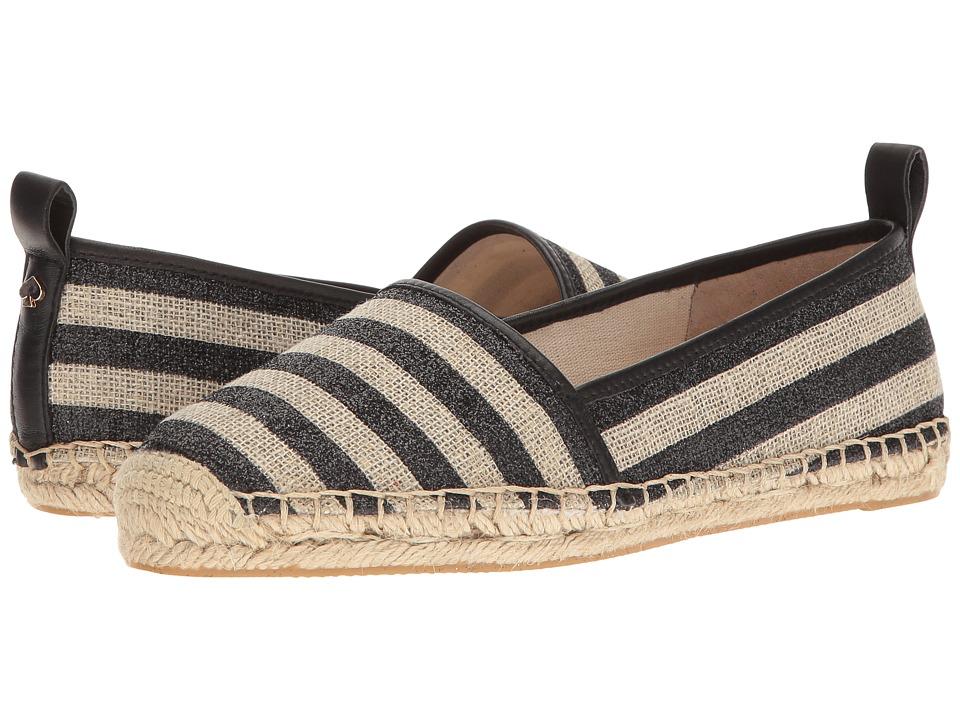 Kate Spade New York - Lilliad (Black/Natural Glitter Stripe Canvas/Black Nappa) Women's Shoes