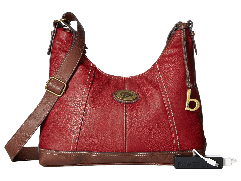 b.o.c. - Coshocton Hobo with Power Bank (Burgundy/Walnut) Hobo Handbags