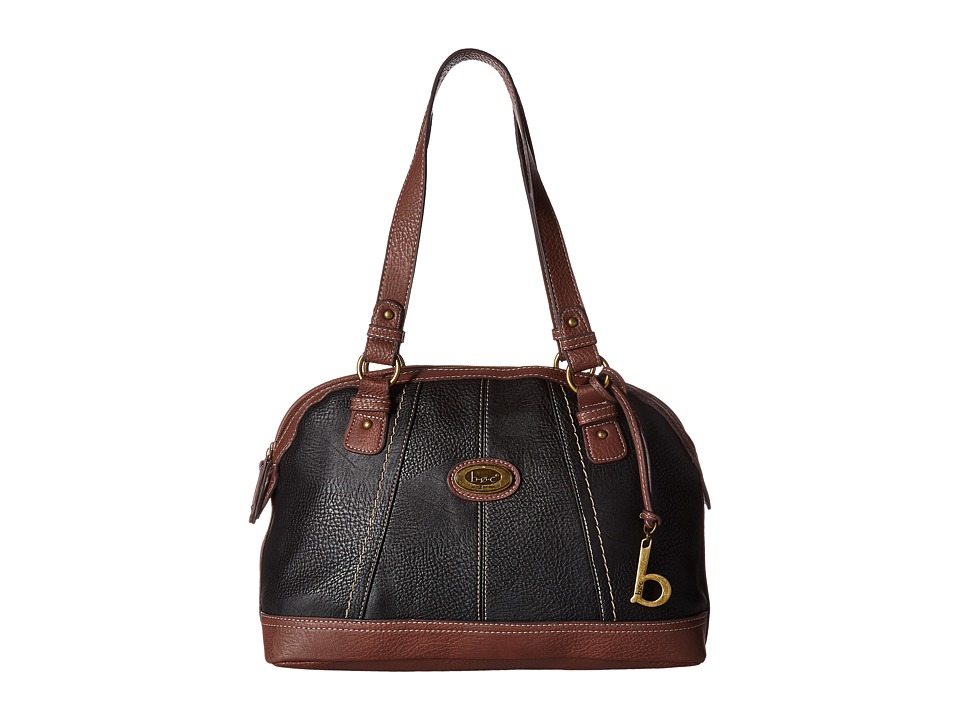 b.o.c. - Coshocton Satchel with Power Bank (Black/Walnut) Satchel Handbags