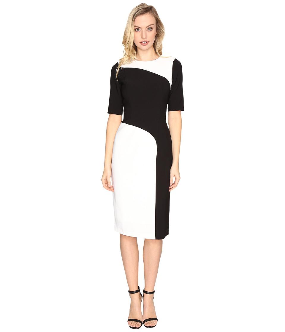 Maggy London - Crepe Color Block Sheath Dress (Ivory/Black) Women's Dress
