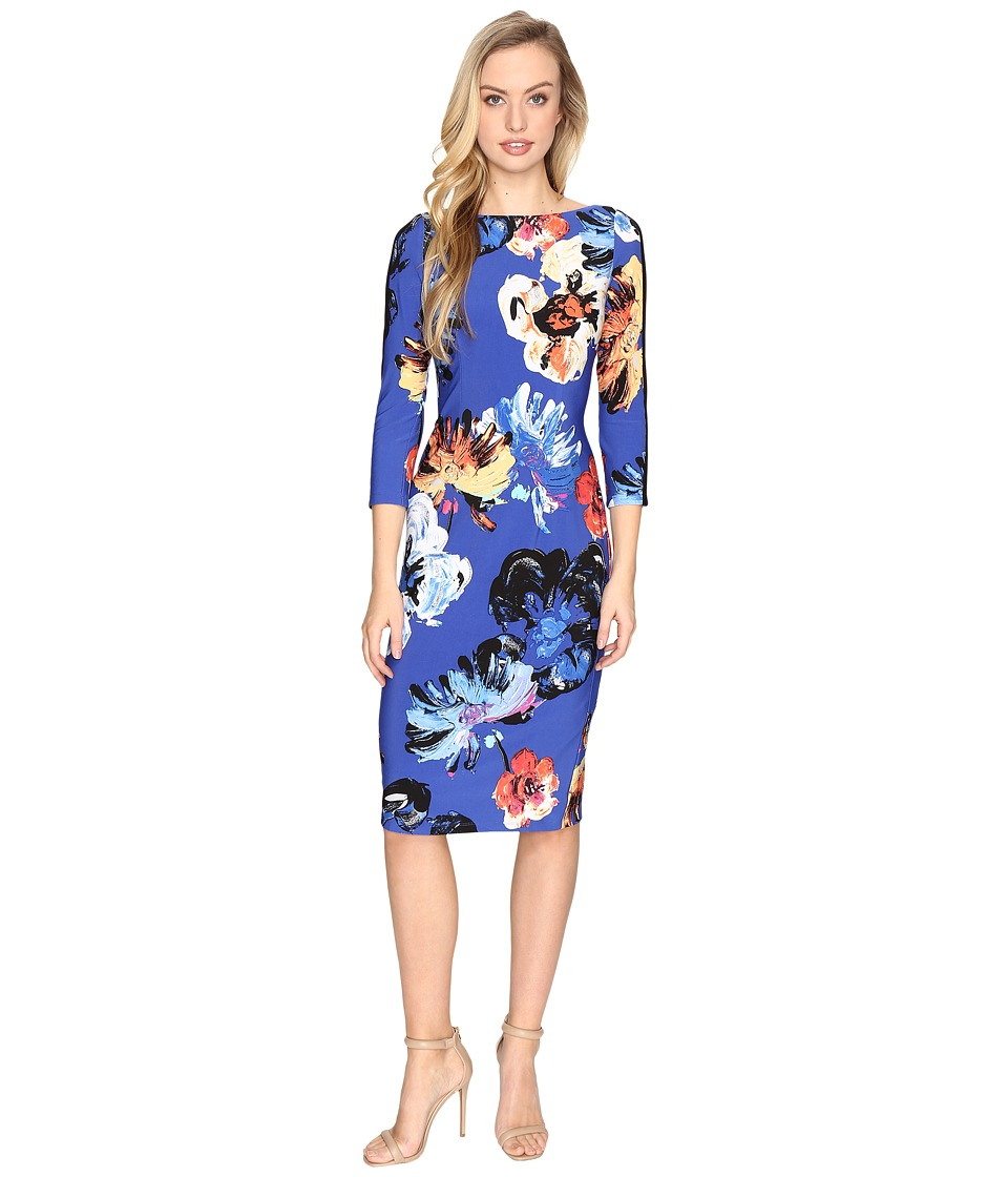 Maggy London - Artistic Bloom Jersey Sheath Dress (Black/Sunset) Women's Dress