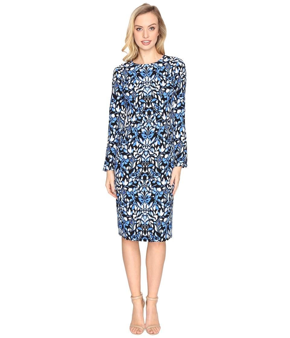Maggy London - Blossom Flower Printed Crepe Sheath Dress (Black/Azure) Women's Dress