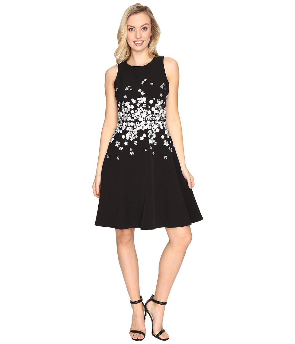 Maggy London - Dream Crepe Fit and Flare w/ Embellishment Dress (Black) Women's Dress
