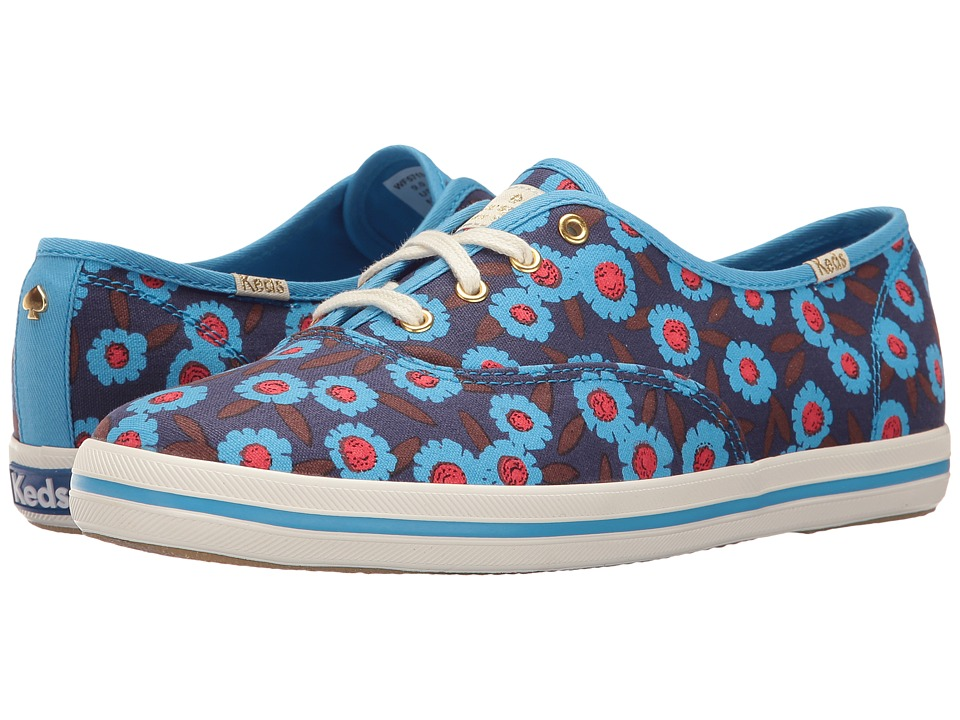 Kate Spade New York - Kick (Peacock Blue Floral Canvas) Women's Lace up casual Shoes