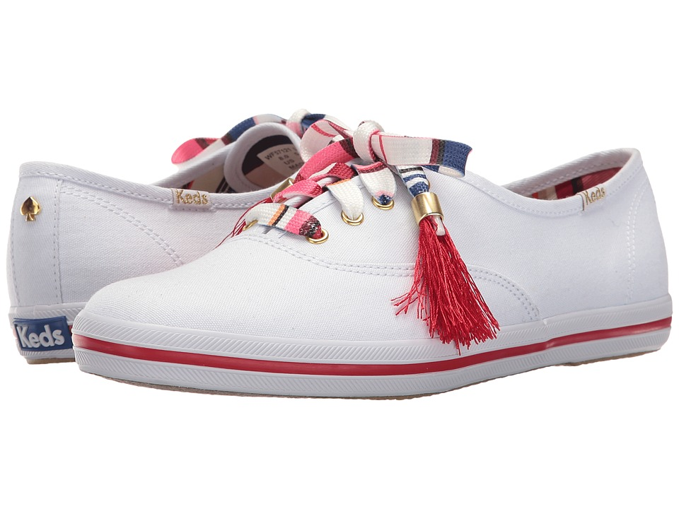 Kate Spade New York - Kick (White Textured Canvas) Women's Lace up casual Shoes