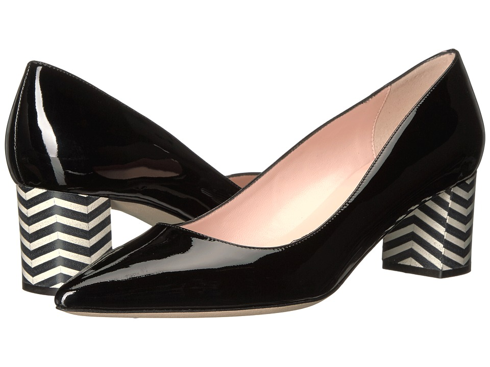Kate Spade New York - Milan (Black Patent/Black/White Chevron) Women's Shoes