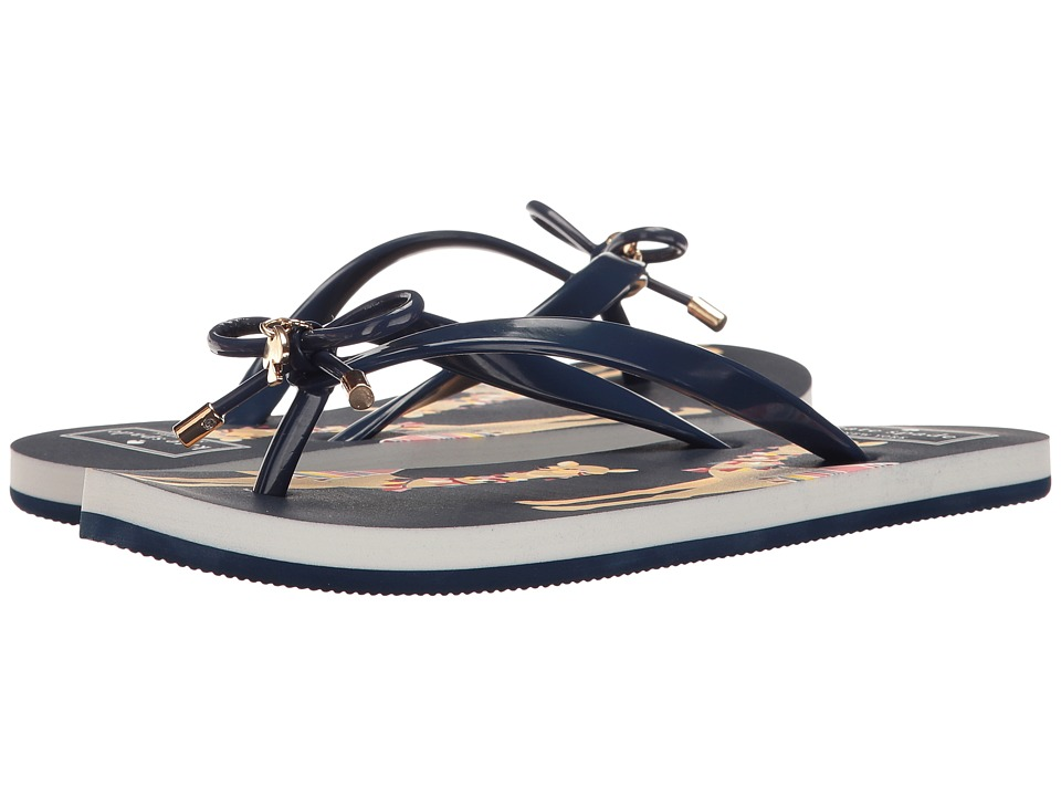 Kate Spade New York - Nova (New Navy Shiny Rubber/Pink Multi Camels Print) Women's Sandals