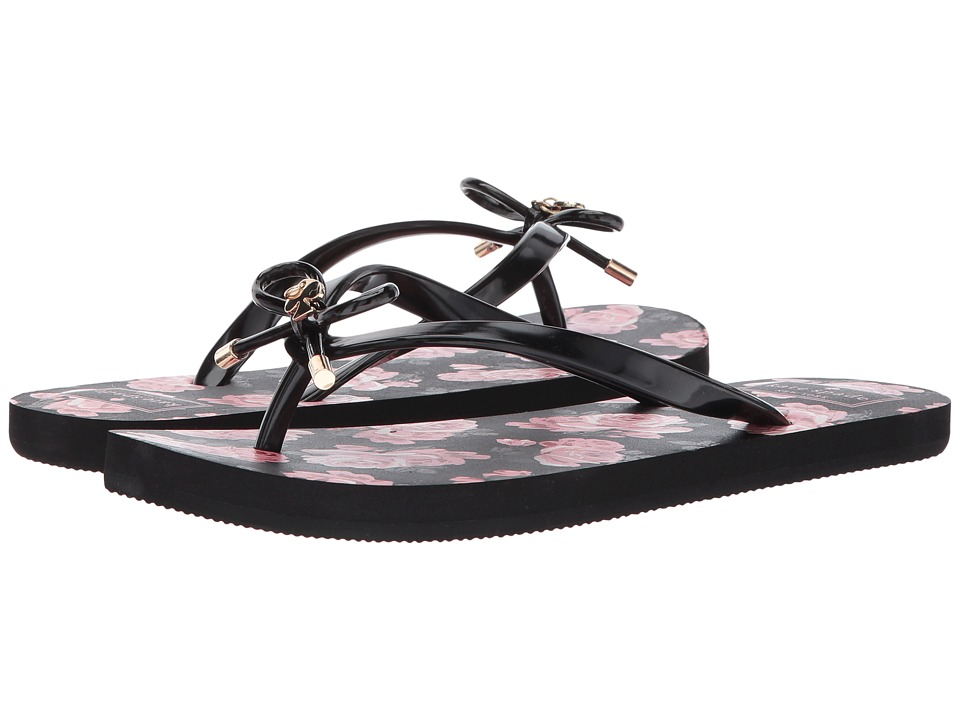 Kate Spade New York - Nova (Black Shiny Rubber/Black Selavi Rose Print) Women's Sandals