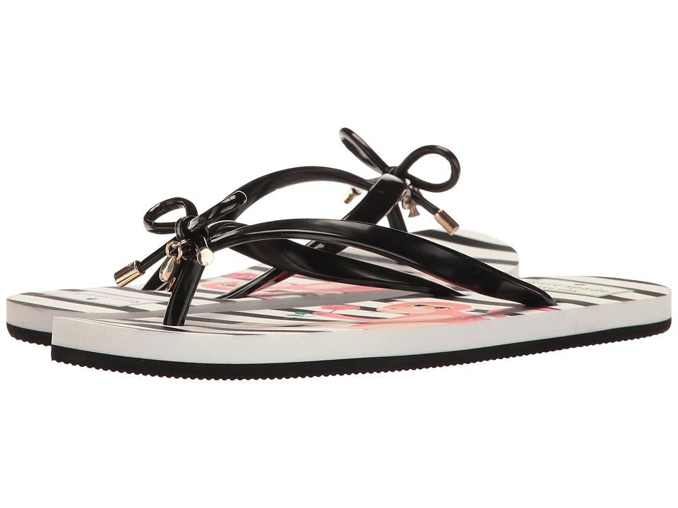 Kate Spade New York - Nova (Black Shiny Rubber/Pink Multi Monkey Print) Women's Sandals